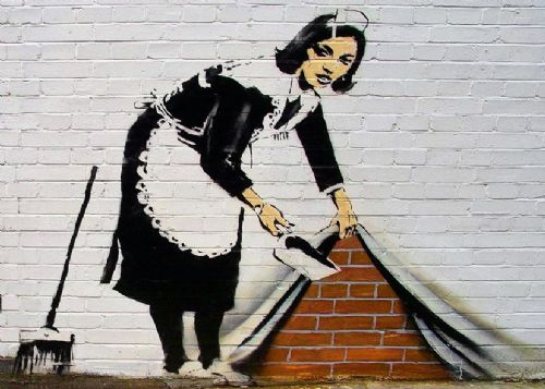 BANKSY - MAID STREET CLEANER canvas print - self adhesive poster - photo print